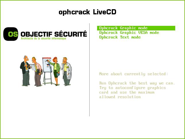 Главное меню Ophcrack LiveCD