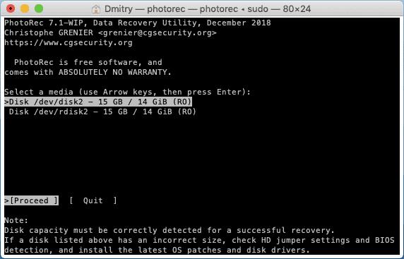 Выбор диска для сканирования в PhotoRec