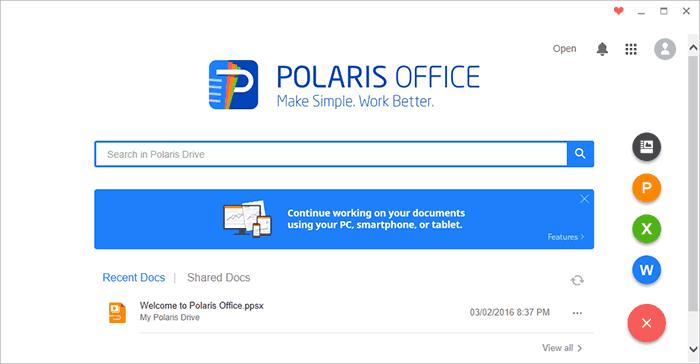 Главное окно Polaris Office