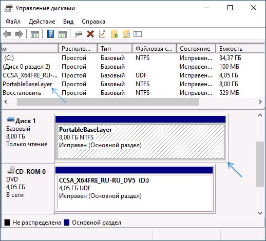 Диск PortableBaseLayer в управлении дисками