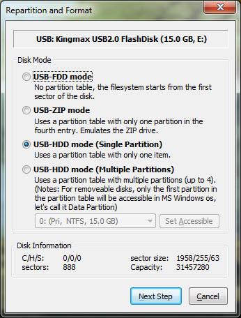 Выбор режима форматирования для создания загрузочной флешки