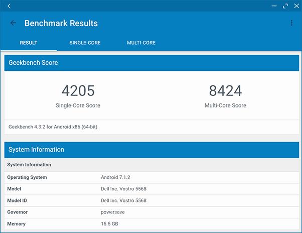 Тестирование PrimeOS в GeekBench