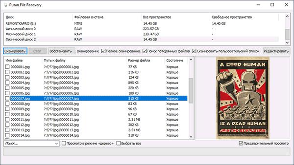 Результаты восстановления данных в Puran File Recovery