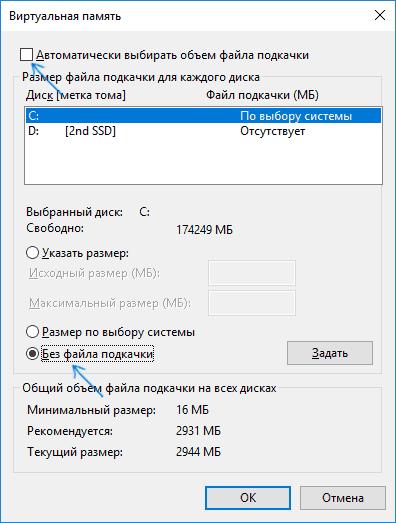 Удаление swapfile.sys с диска
