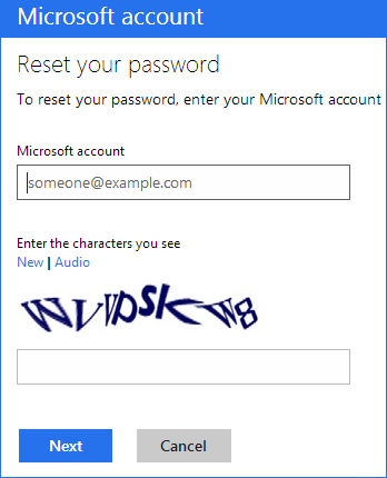 Сброс пароля учетной записи Microsoft