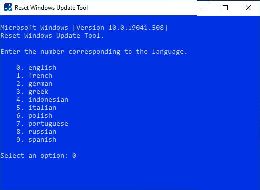 Выбор языка в Reset Windows Update Tool