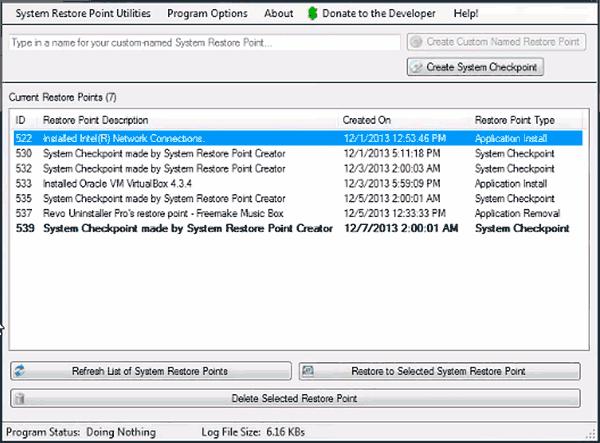 Программа Restore Point Creator