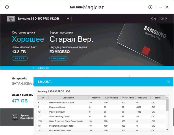 Информация о состоянии SSD в Samsung Magician