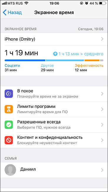Настройки экранного времени на iPhone