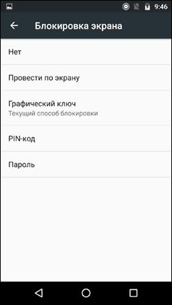 Выбор типа блокировки экрана