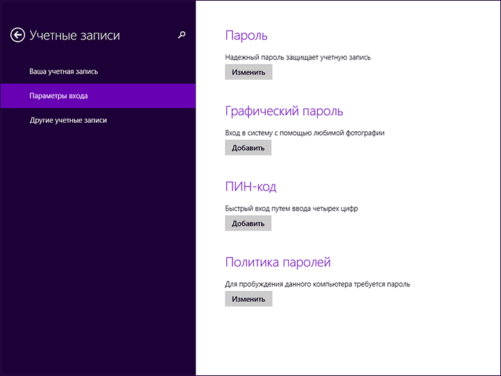 Установка пароля в Windows 8.1