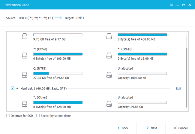 Указание SSD для переноса Windows 10 в EaseUS
