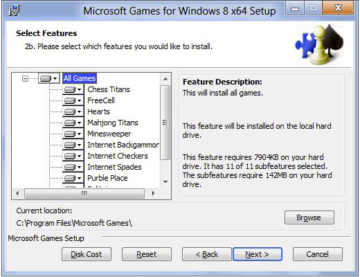 Установка Косынки и игр Microsoft
