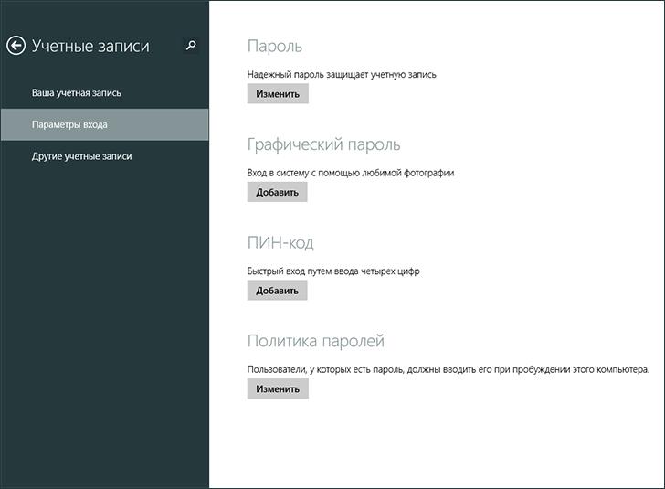 Установка пароля в Windows 8