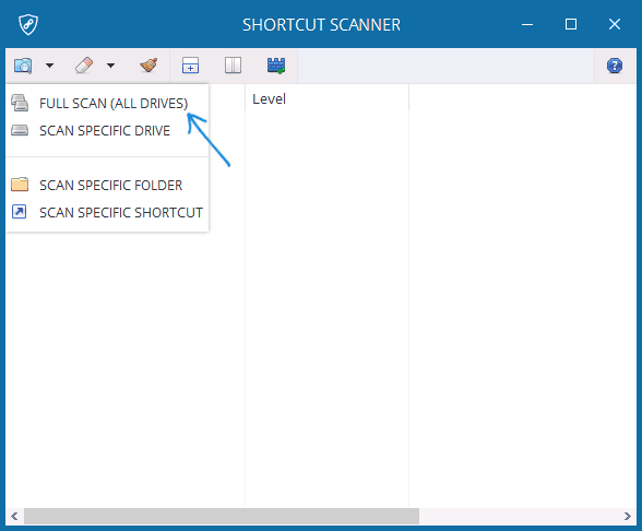 Проверка ярлыков в Shortcut Scanner