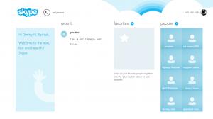Список контактов в Skype для Windows 8