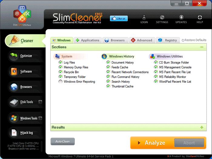 Очистка системы в SlimCleaner