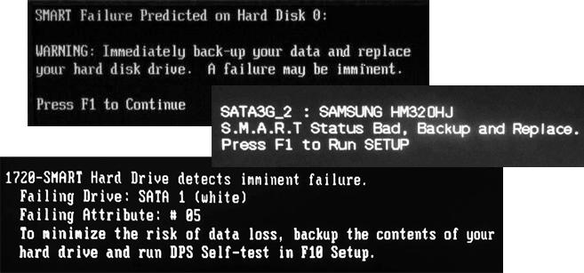 Ошибки SMART при включении компьютера или ноутбука