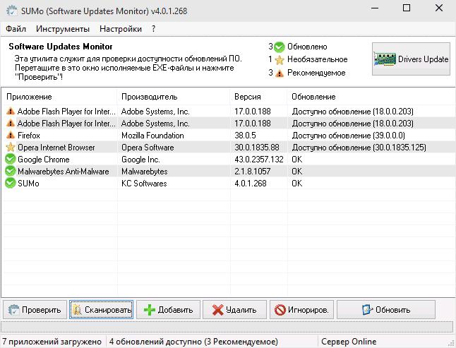 Главное окно Software Updates Monitor