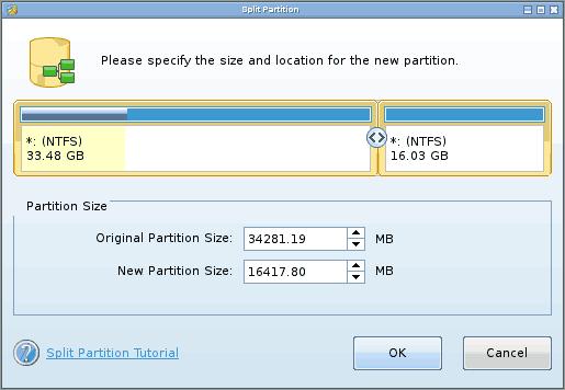 Разделение диска в Minitool Partition Wizard