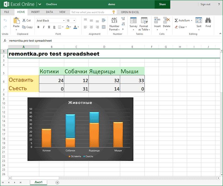 Таблица в Excel Online