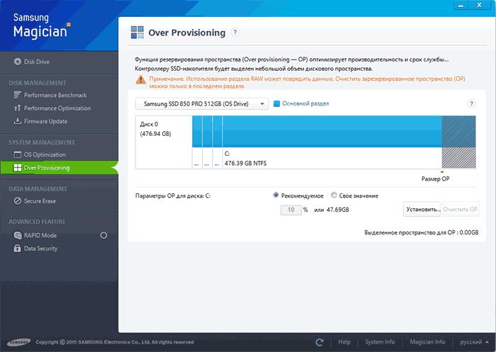 Освобождение резервного пространства на SSD