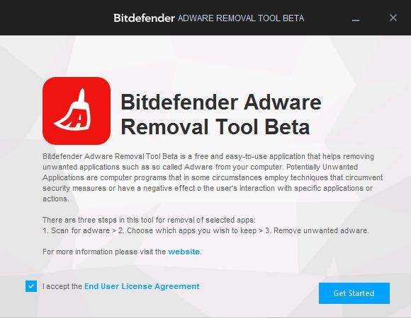 Запуск Bitdefender Adware Removal Tool