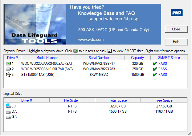 Программа проверки жестких дисков Western Digital