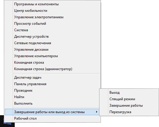Быстрое выключение компьютера в Windows 8.1