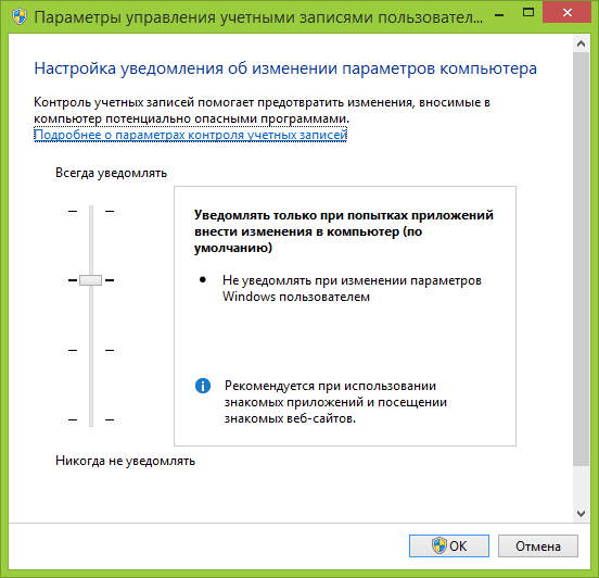 Настройки UAC в Windows