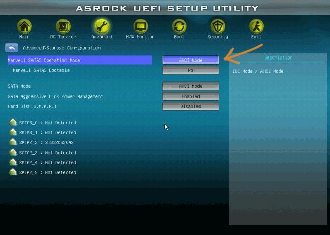 Включение AHCI Mode в UEFI
