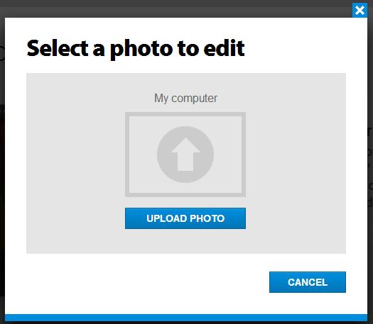 Загрузка файла в Photoshop Online Tools