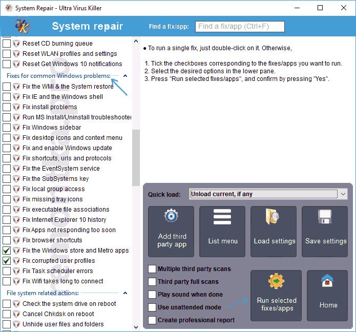 Исправления ошибок Windows в Ultra Virus Killer