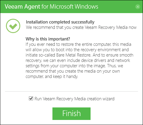Veeam Agent for Windows Free установлен