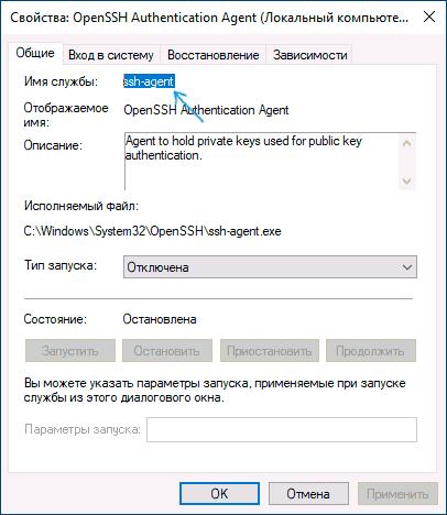 Имя службы Windows 10