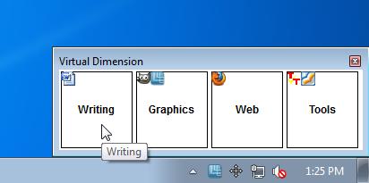Переключение рабочих столов в Virtual Dimension