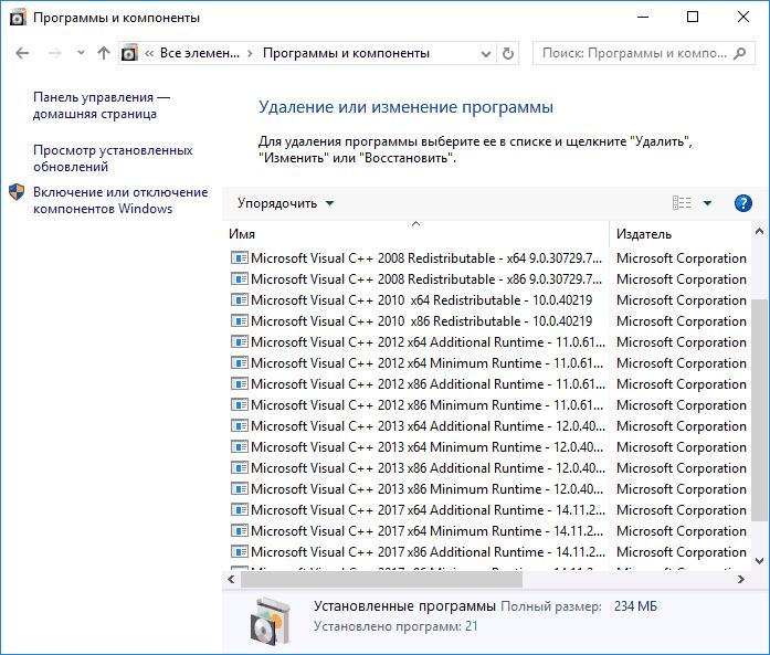 Необходимые пакеты Visual Studio установлены