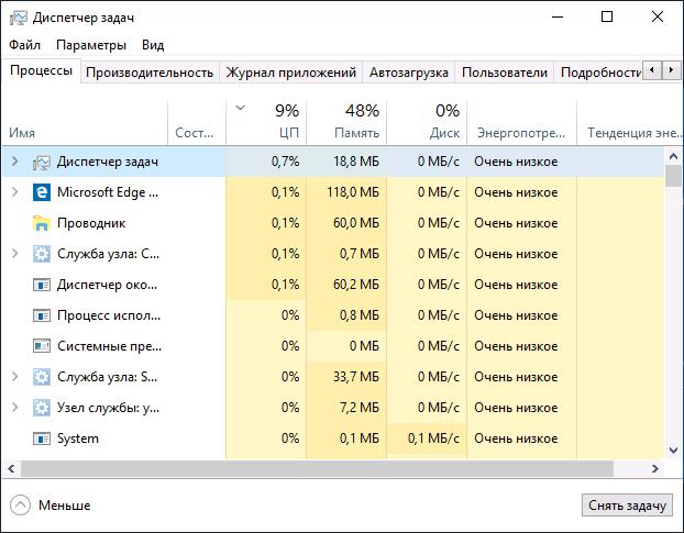 Диспетчер задач Windows 10 1809