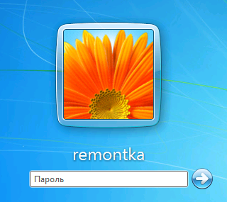 Окно ввода пароля Windows 7