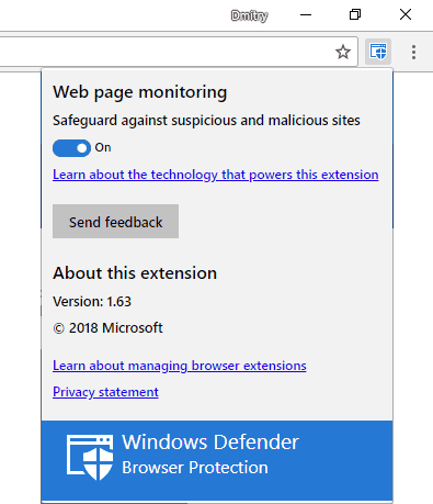 Установленное расширение Windows Defender Browser Protection в Google Chrome