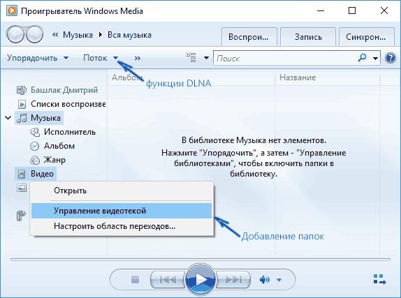 Управление DLNA в проигрывателе Windows Media