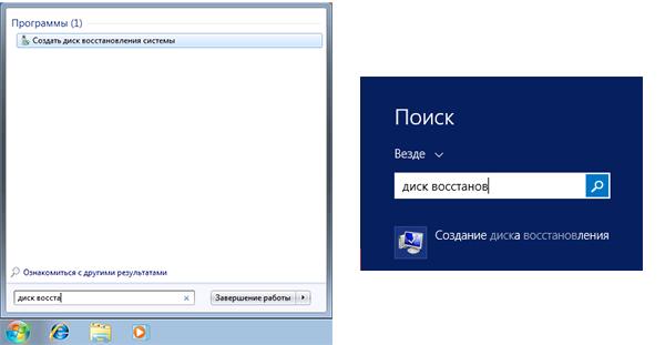 Создание диска восстановления Windows