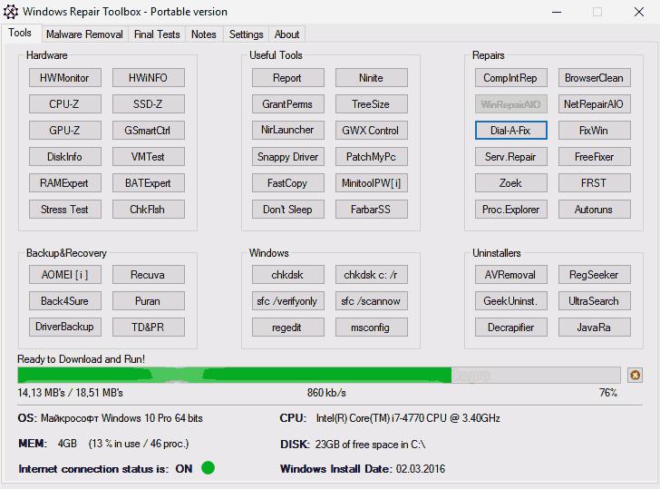 Главное окно Windows Repair Toolbox