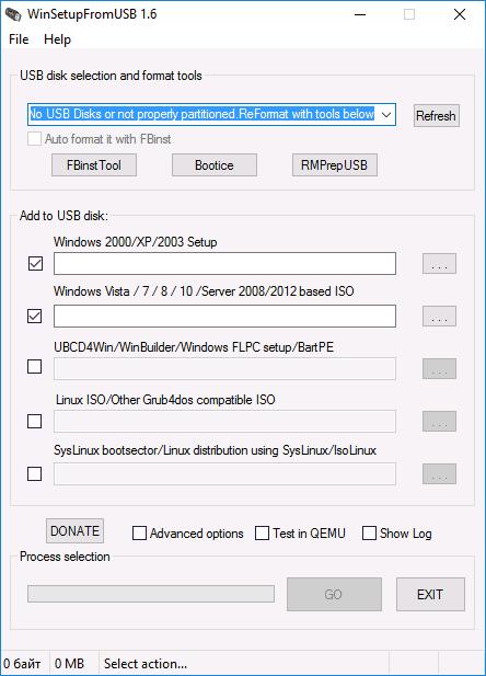 Загрузочная флешка в WinSetupFromUSB