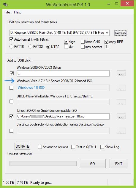 Запись Windows 10 в WinSetupFromUSB