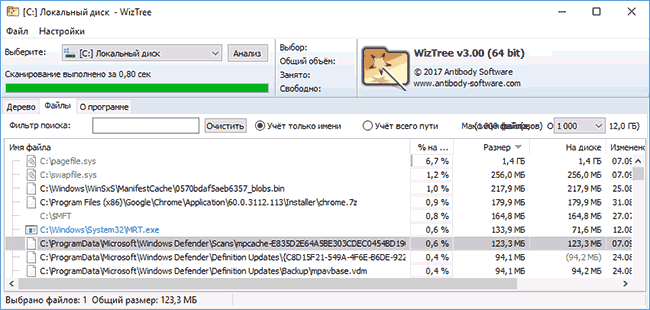 Раздел Файлы в WizTree