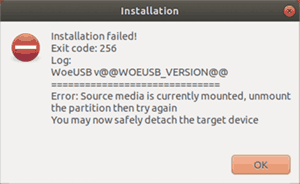 Ошибка Source Media Mounted в WoeUSB
