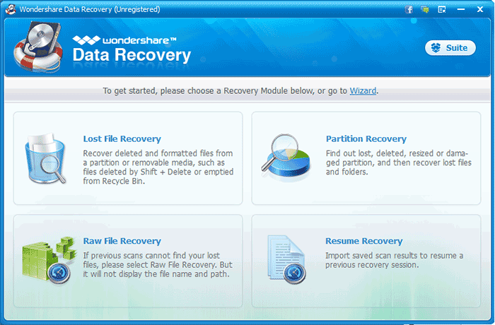 Меню программы Wondershare Data Recovery