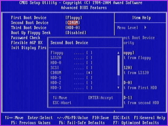 Загрузка с USB флешки в AWARD BIOS